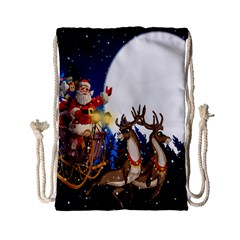 Christmas Reindeer Santa Claus Snow Night Moon Blue Sky Drawstring Bag (small)