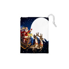 Christmas Reindeer Santa Claus Snow Night Moon Blue Sky Drawstring Pouches (xs)
