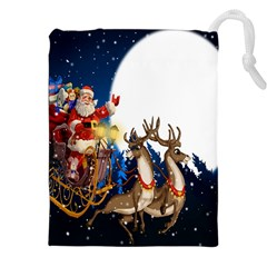 Christmas Reindeer Santa Claus Snow Night Moon Blue Sky Drawstring Pouches (xxl) by Alisyart