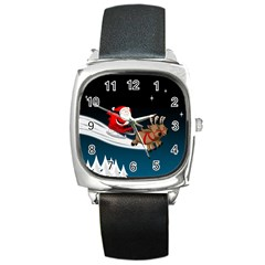 Christmas Reindeer Santa Claus Snow Star Blue Sky Square Metal Watch by Alisyart