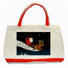 Christmas Reindeer Santa Claus Snow Star Blue Sky Classic Tote Bag (red) by Alisyart