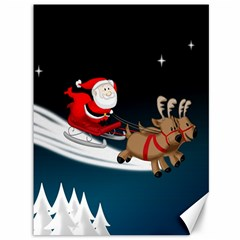 Christmas Reindeer Santa Claus Snow Star Blue Sky Canvas 36  X 48
