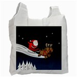 Christmas Reindeer Santa Claus Snow Star Blue Sky Recycle Bag (One Side) Front