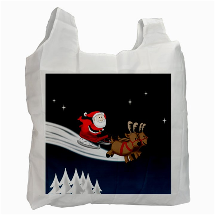 Christmas Reindeer Santa Claus Snow Star Blue Sky Recycle Bag (One Side)