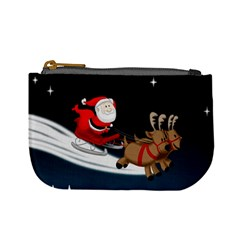 Christmas Reindeer Santa Claus Snow Star Blue Sky Mini Coin Purses