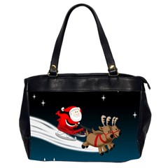 Christmas Reindeer Santa Claus Snow Star Blue Sky Office Handbags (2 Sides)  by Alisyart