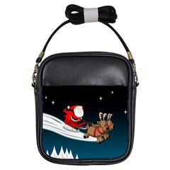 Christmas Reindeer Santa Claus Snow Star Blue Sky Girls Sling Bags