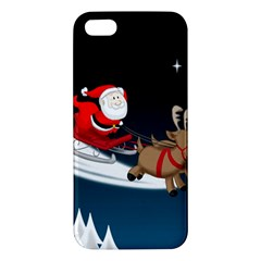 Christmas Reindeer Santa Claus Snow Star Blue Sky Apple Iphone 5 Premium Hardshell Case