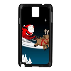 Christmas Reindeer Santa Claus Snow Star Blue Sky Samsung Galaxy Note 3 N9005 Case (black)