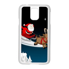 Christmas Reindeer Santa Claus Snow Star Blue Sky Samsung Galaxy S5 Case (white)