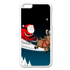 Christmas Reindeer Santa Claus Snow Star Blue Sky Apple Iphone 6 Plus/6s Plus Enamel White Case
