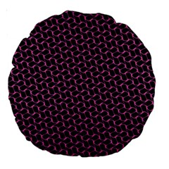 Twisted Mesh Pattern Purple Black Large 18  Premium Round Cushions by Alisyart