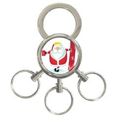Christmas Santa Claus 3 Ring Key Chains