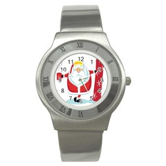 Christmas Santa Claus Stainless Steel Watch by Alisyart