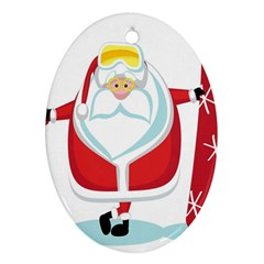 Christmas Santa Claus Oval Ornament (two Sides) by Alisyart