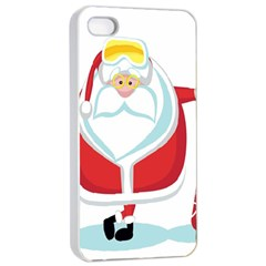 Christmas Santa Claus Apple Iphone 4/4s Seamless Case (white) by Alisyart