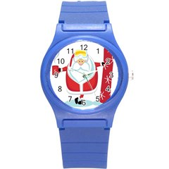 Christmas Santa Claus Round Plastic Sport Watch (s) by Alisyart