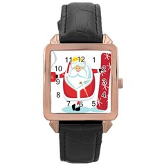 Christmas Santa Claus Rose Gold Leather Watch  by Alisyart