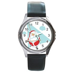 Christmas Santa Claus Paragliding Round Metal Watch