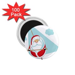 Christmas Santa Claus Paragliding 1 75  Magnets (100 Pack)