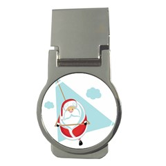 Christmas Santa Claus Paragliding Money Clips (round)