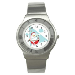 Christmas Santa Claus Paragliding Stainless Steel Watch by Alisyart