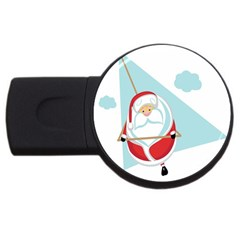 Christmas Santa Claus Paragliding Usb Flash Drive Round (4 Gb) by Alisyart