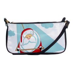 Christmas Santa Claus Paragliding Shoulder Clutch Bags by Alisyart
