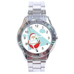 Christmas Santa Claus Paragliding Stainless Steel Analogue Watch