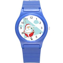 Christmas Santa Claus Paragliding Round Plastic Sport Watch (s)