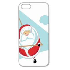 Christmas Santa Claus Paragliding Apple Seamless Iphone 5 Case (clear) by Alisyart