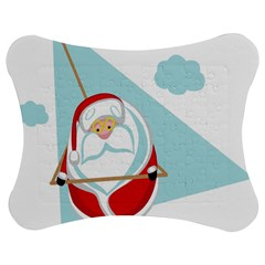 Christmas Santa Claus Paragliding Jigsaw Puzzle Photo Stand (bow) by Alisyart