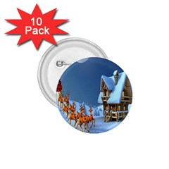 Christmas Reindeer Santa Claus Wooden Snow 1 75  Buttons (10 Pack) by Alisyart