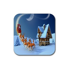 Christmas Reindeer Santa Claus Wooden Snow Rubber Square Coaster (4 Pack)