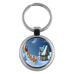 Christmas Reindeer Santa Claus Wooden Snow Key Chains (round)  by Alisyart