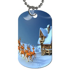 Christmas Reindeer Santa Claus Wooden Snow Dog Tag (two Sides)