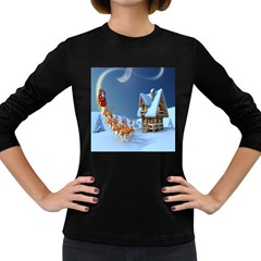 Christmas Reindeer Santa Claus Wooden Snow Women s Long Sleeve Dark T Shirts
