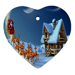 Christmas Reindeer Santa Claus Wooden Snow Heart Ornament (two Sides) by Alisyart