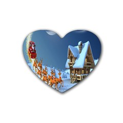 Christmas Reindeer Santa Claus Wooden Snow Heart Coaster (4 Pack)