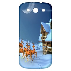 Christmas Reindeer Santa Claus Wooden Snow Samsung Galaxy S3 S Iii Classic Hardshell Back Case by Alisyart