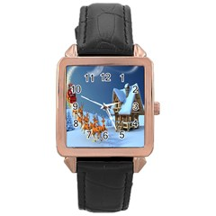 Christmas Reindeer Santa Claus Wooden Snow Rose Gold Leather Watch