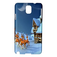 Christmas Reindeer Santa Claus Wooden Snow Samsung Galaxy Note 3 N9005 Hardshell Case