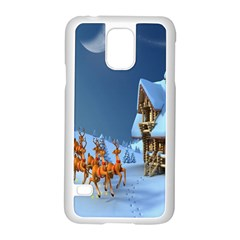 Christmas Reindeer Santa Claus Wooden Snow Samsung Galaxy S5 Case (white)