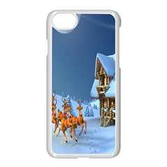 Christmas Reindeer Santa Claus Wooden Snow Apple Iphone 8 Seamless Case (white)