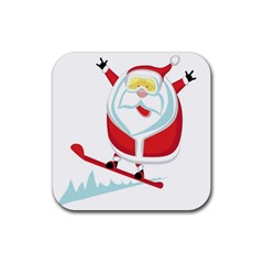 Christmas Santa Claus Playing Sky Snow Rubber Coaster (square)