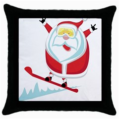 Christmas Santa Claus Playing Sky Snow Throw Pillow Case (black) by Alisyart