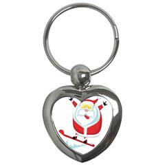 Christmas Santa Claus Playing Sky Snow Key Chains (heart)