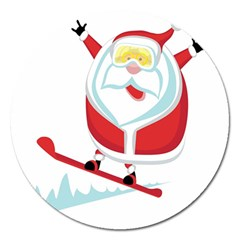 Christmas Santa Claus Playing Sky Snow Magnet 5  (round) by Alisyart