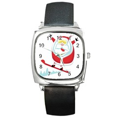 Christmas Santa Claus Playing Sky Snow Square Metal Watch by Alisyart