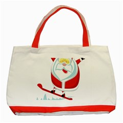 Christmas Santa Claus Playing Sky Snow Classic Tote Bag (red) by Alisyart
